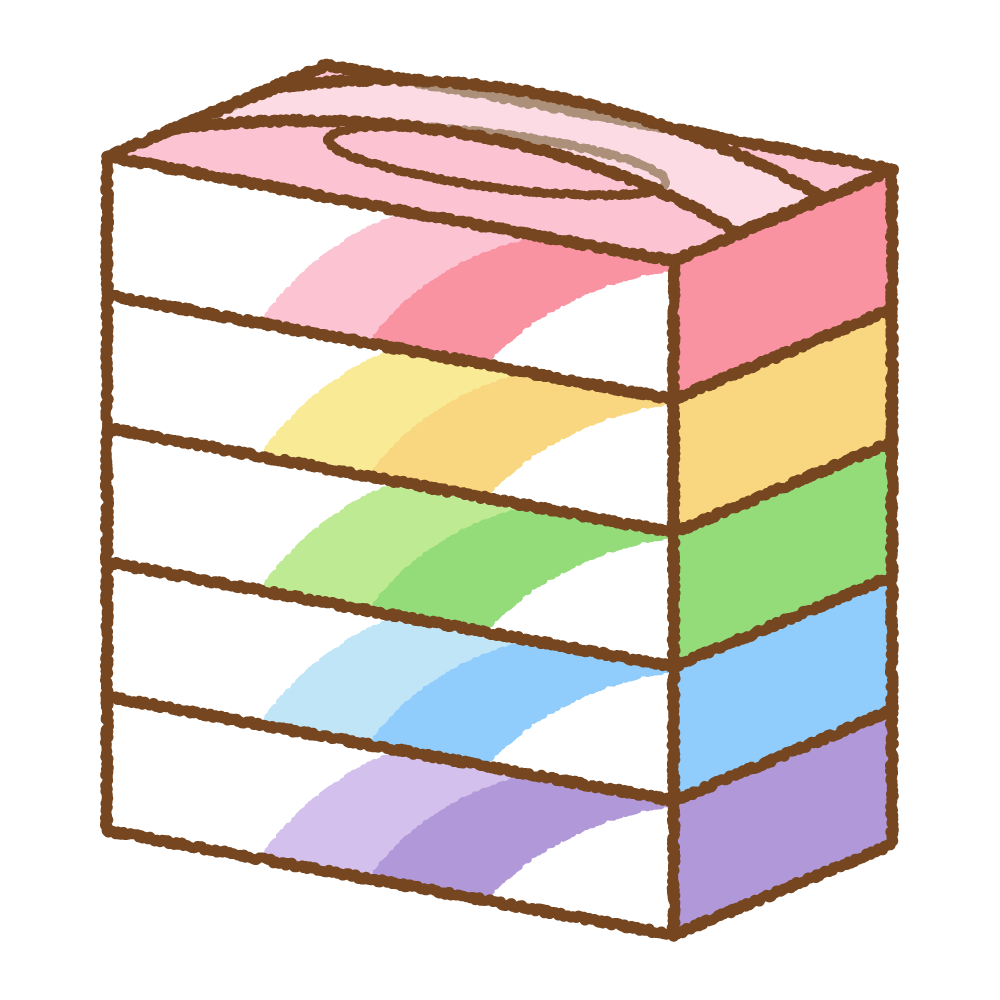 ボックスティッシュのフリーイラスト Clip art of 5box-tissue-paper