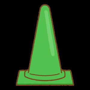 緑の三角コーンのフリーイラスト Clip art of green traffic cone