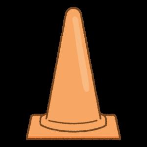 オレンジの三角コーンのフリーイラスト Clip art of orange traffic cone