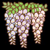 藤の花のフリーイラスト Clip art of wisteria