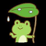 葉っぱの傘を持ったカエルのイラスト