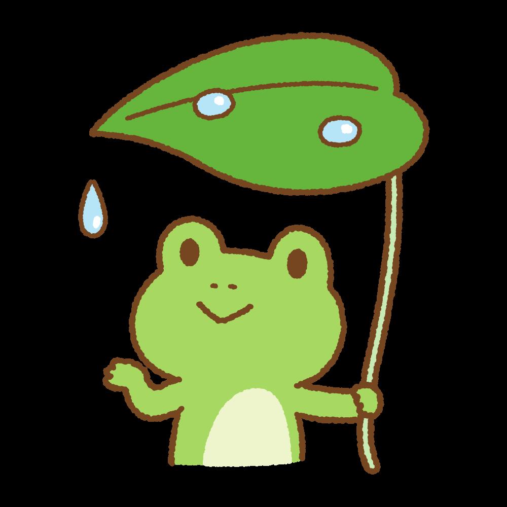葉っぱの傘をさすカエルのフリーイラスト Clip art of umbrella frog