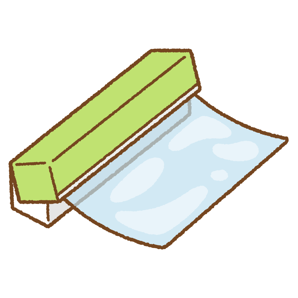 食品用ラップのフリーイラスト Clip art of plastic-wrap