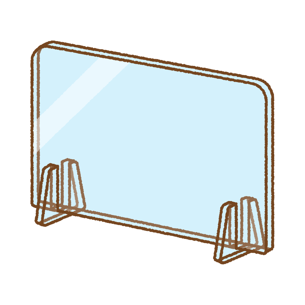 アクリル板パーテーションのフリーイラスト Clip art of acrylic-protection-screen