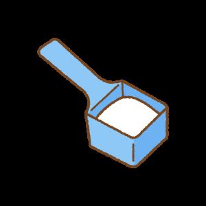 洗濯用粉洗剤のフリーイラスト Clip art of powder laundry detergent spoon