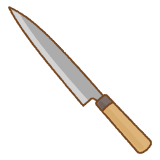 柳刃包丁のフリーイラスト Clip art of yanagiba-bouchou