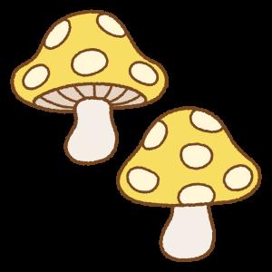 水玉キノコのフリーイラスト Clip art of mushroom-polka-dots