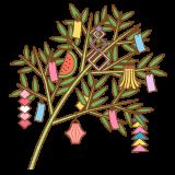 笹飾りのフリーイラスト Clip art of sasa-kazari