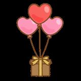 ハートのバルーンギフトのフリーイラスト Clip art of heart-balloon-gift