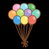 風船の束のフリーイラスト Clip art of balloons-bunch