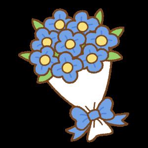 花束のフリーイラスト Clip art of blue-bouquet