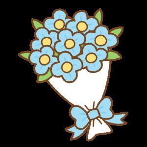 花束のフリーイラスト Clip art of light-blue bouquet
