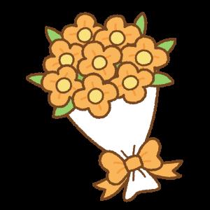 花束のフリーイラスト Clip art of orange bouquet