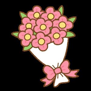 花束のフリーイラスト Clip art of pink bouquet