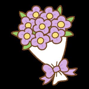 花束のフリーイラスト Clip art of purple bouquet