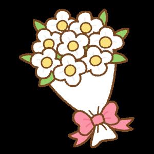 花束のフリーイラスト Clip art of white bouquet