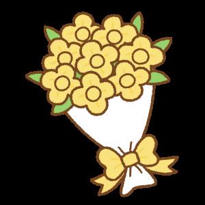 花束のフリーイラスト Clip art of yellow bouquet