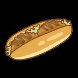 コロッケパンのフリーイラスト Clip art of croquette-pan