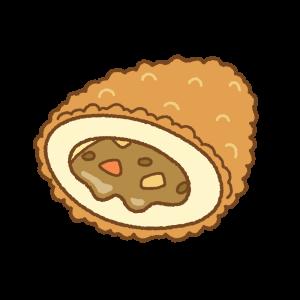 カレーパンのフリーイラスト Clip art of curry-pan