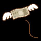 飛んでいくお金のフリーイラスト Clip art of money-with-wings