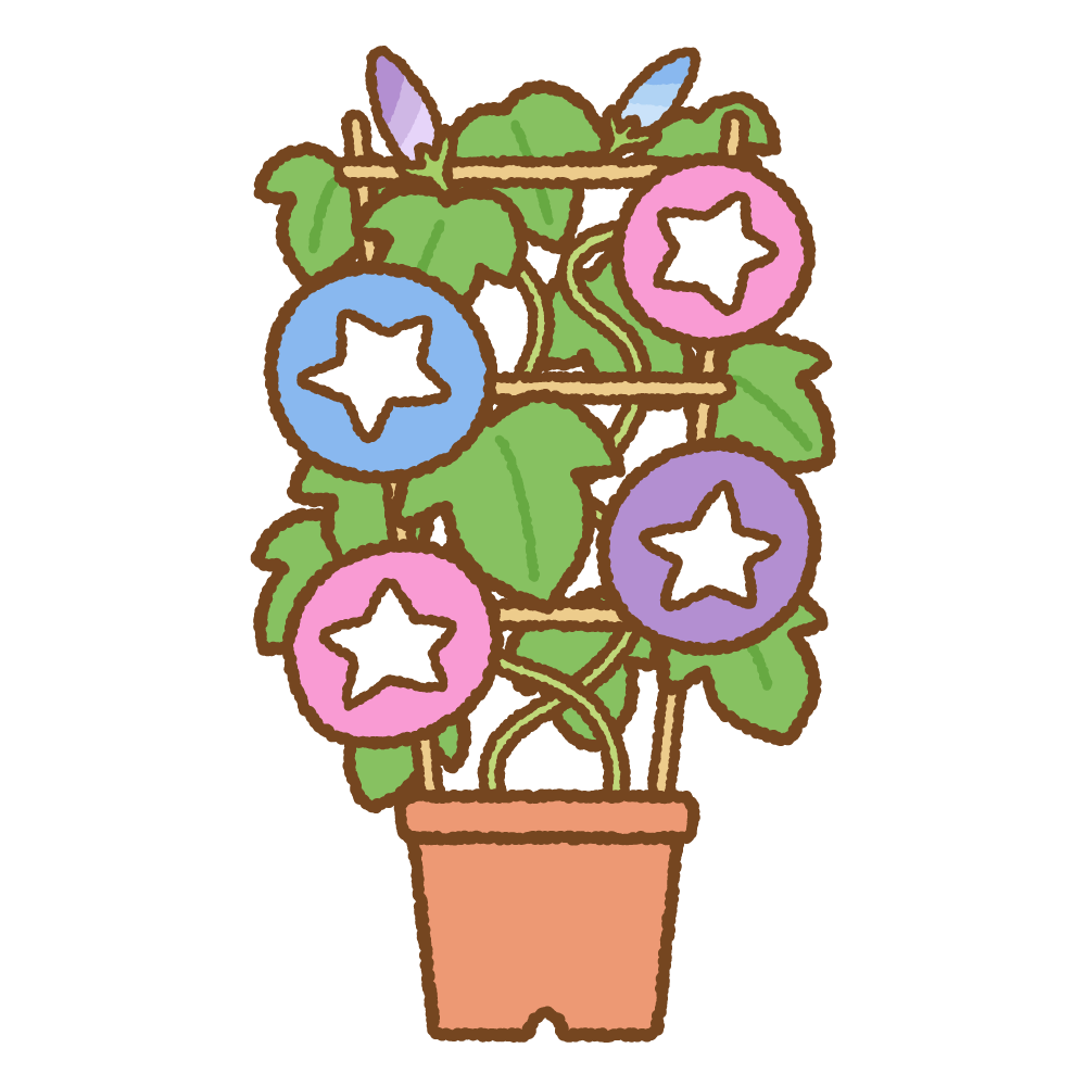 アサガオの鉢植えのフリーイラスト Clip art of morning-glory_planter