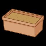 土が入ったプランターのイラスト