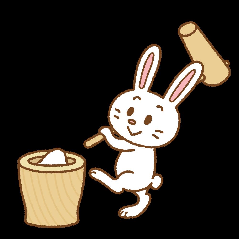餅つきするウサギのフリーイラスト Clip art of rabbit-mochitsuki