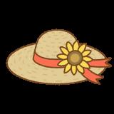 ヒマワリの麦わら帽子のフリーイラスト Clip art of straw-hat-sunflower