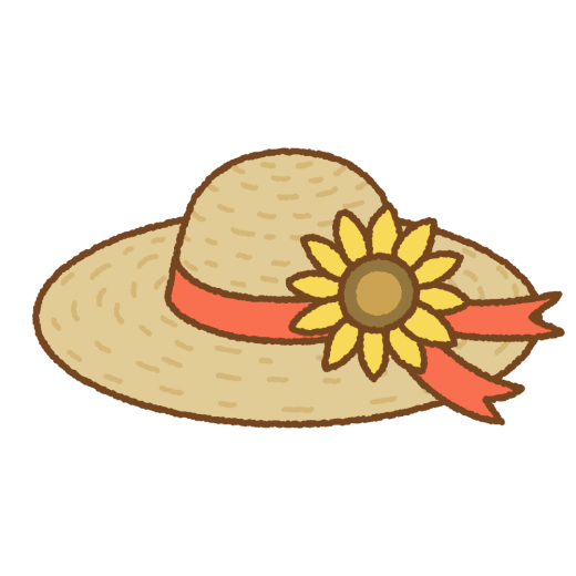 ヒマワリの麦わら帽子のイラスト