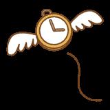 飛んでいく時間のフリーイラスト Clip art of time-with-wings