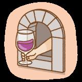 ワインの窓のフリーイラスト Clip art of wine-windows