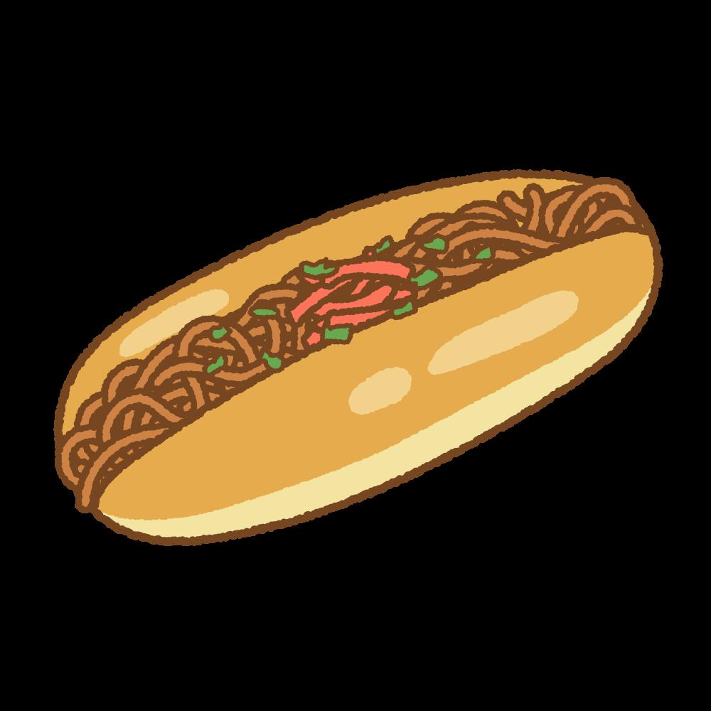 焼きそばパンのフリーイラスト Clip art of yakisoba-pan