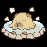 温泉につかるカピバラのフリーイラスト Clip art of capybara-onsen