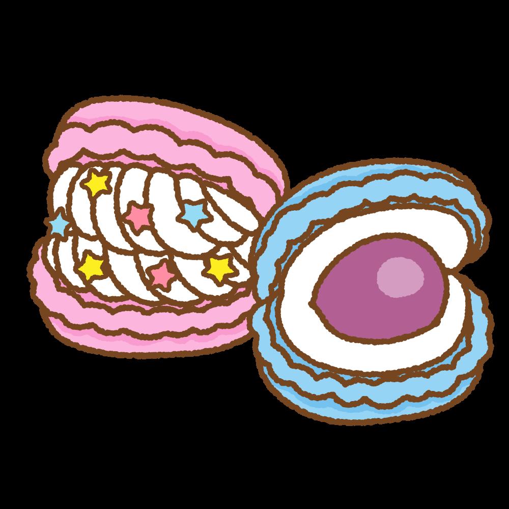 トゥンカロンのフリーイラスト Clip art of chubby-macaron