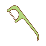 F字型のデンタルフロスのイラスト