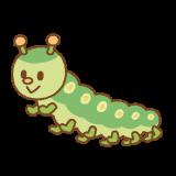 イモムシのフリーイラスト Clip art of green-caterpillar