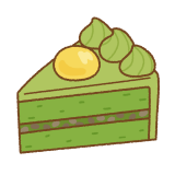 抹茶ケーキのフリーイラスト Clip art of matcha-cake