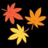 紅葉したモミジの葉のイラスト
