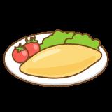 オムレツのフリーイラスト Clip art of omelette