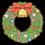 クリスマスリースのフリーイラスト Clip art of christmas-wreath