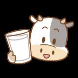牛乳を持ったウシのフリーイラスト Clip art of cow-milk