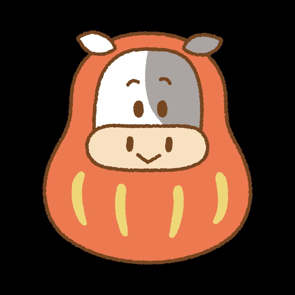 丑のだるまのフリーイラスト Clip art of daruma-ushi