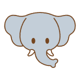 ゾウの顔のフリーイラスト Clip art of elephant-face