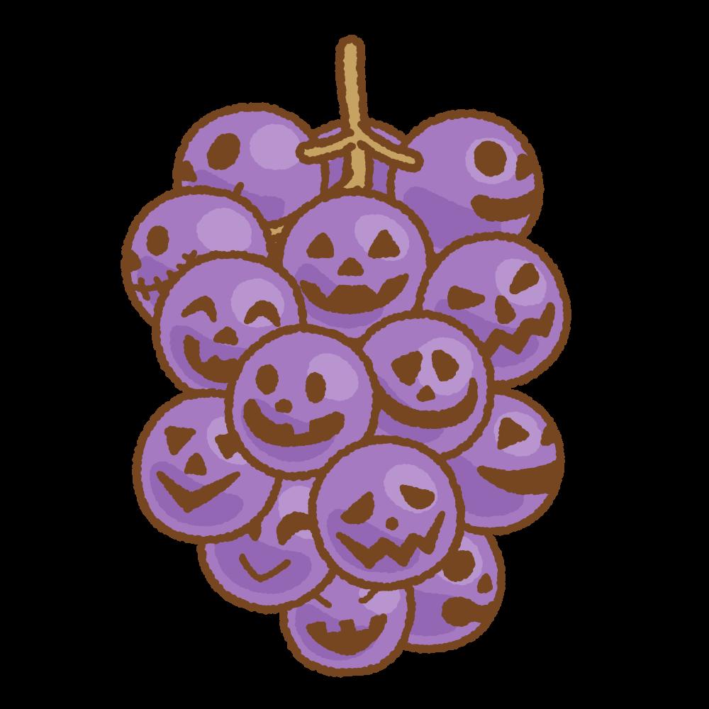 ハロウィングレープのフリーイラスト Clip art of halloween-grape