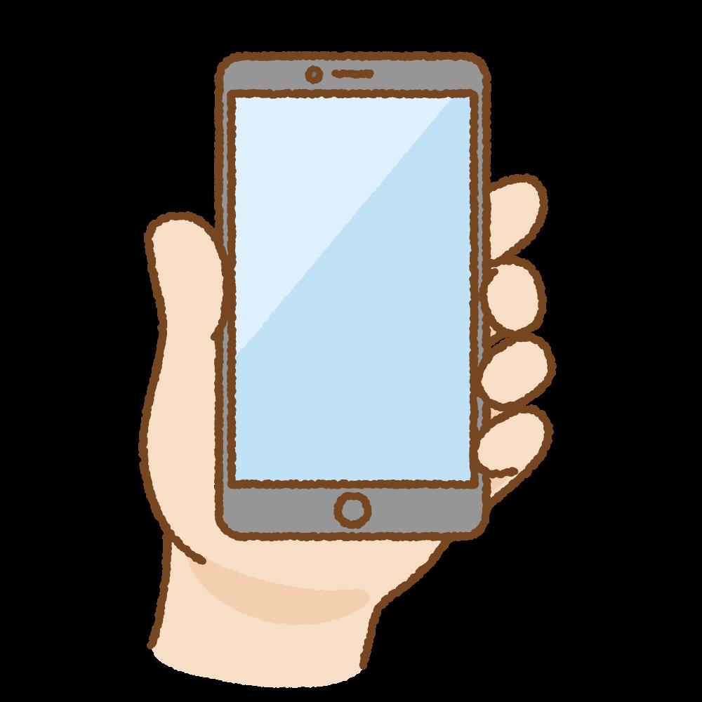 手に持ったスマートフォンのフリーイラスト Clip art of smartphone hand