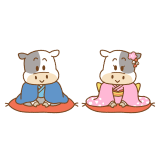 新年の挨拶をする丑のフリーイラスト Clip art of ushi-shinnen-aisatsu