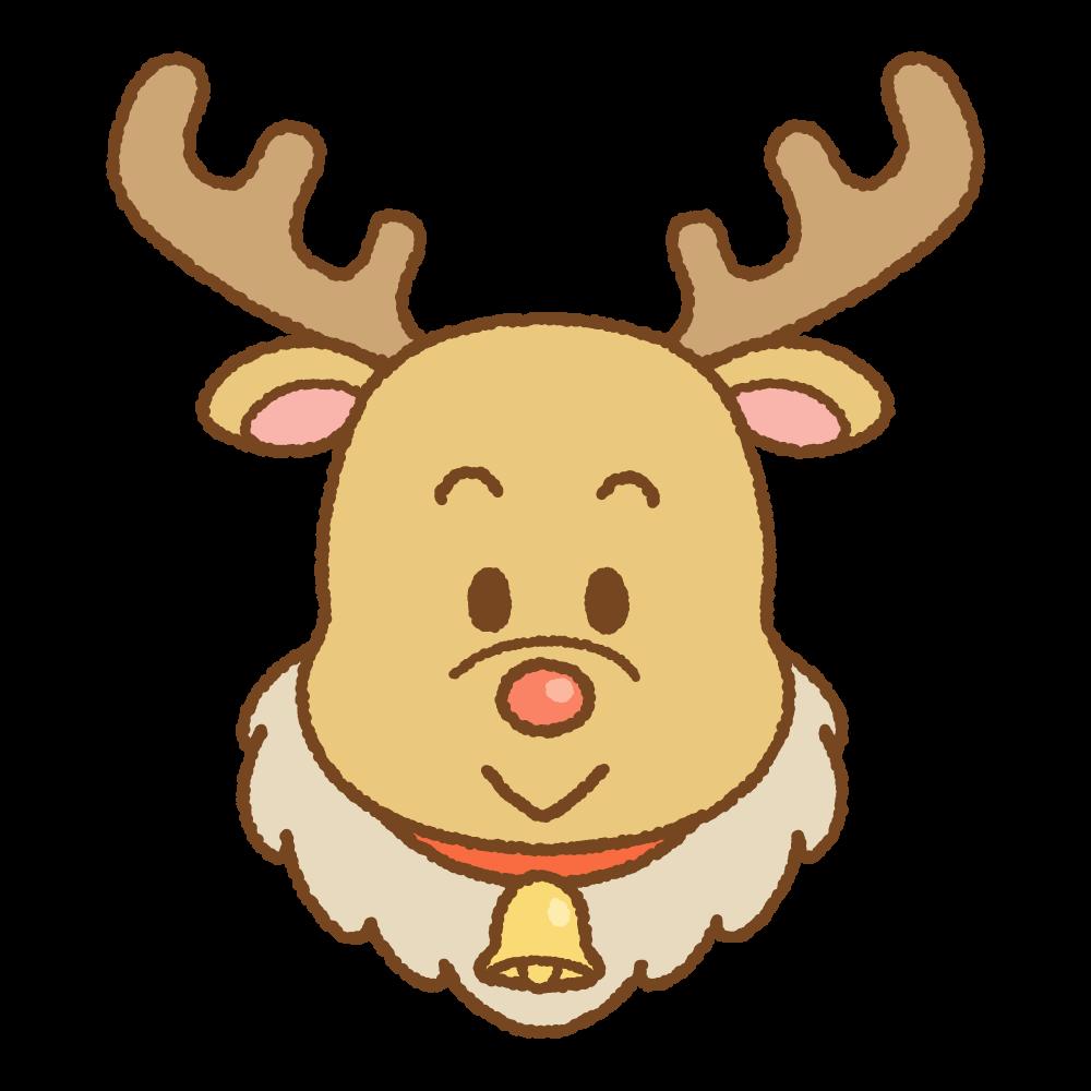 クリスマスのトナカイの顔のフリーイラスト Clip art of xmas reindeer-face