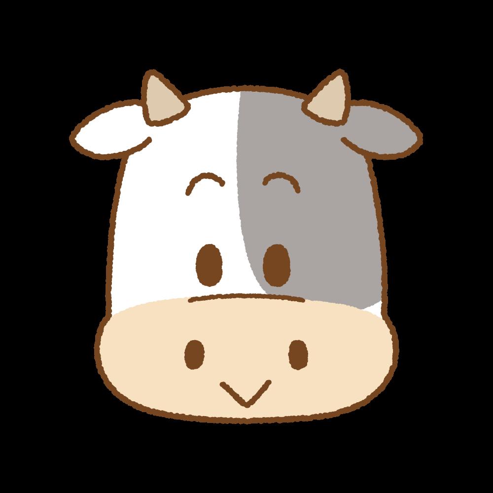 ウシの顔のフリーイラスト Clip art of cow face