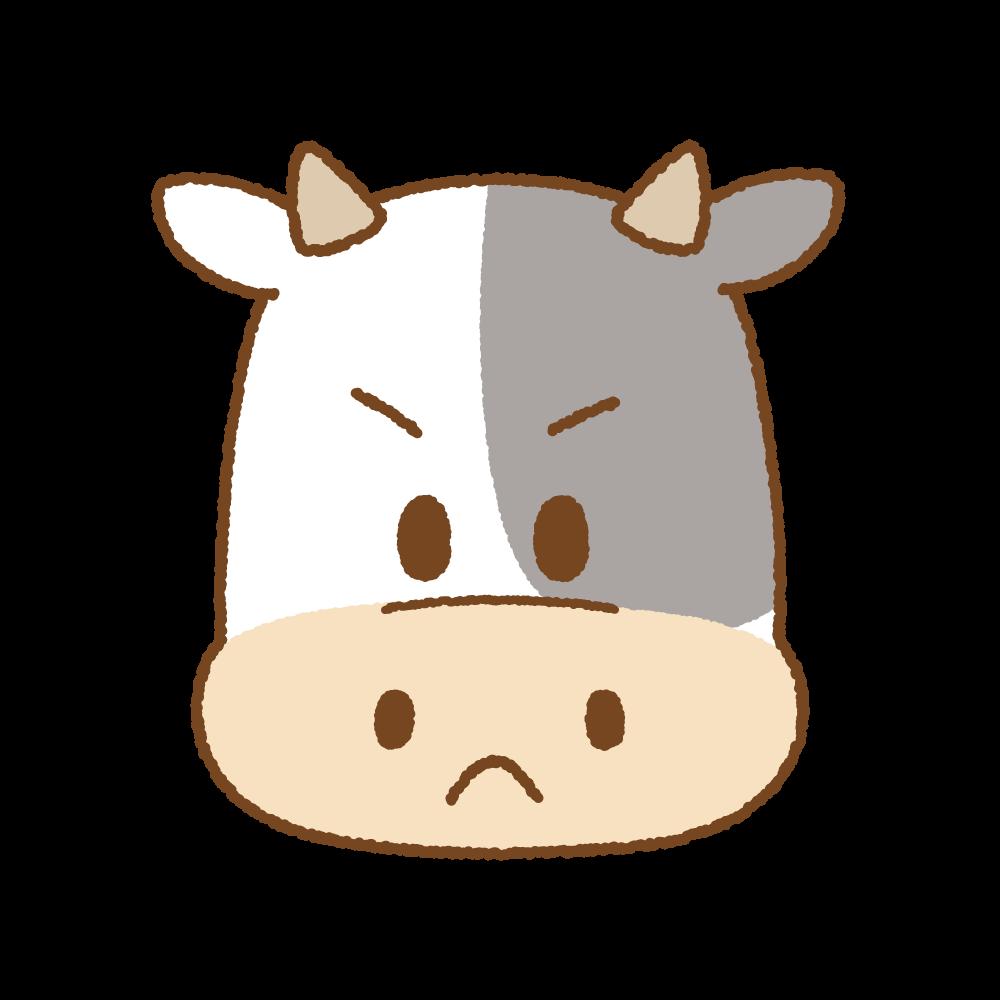 ウシの怒った顔のフリーイラスト Clip art of cow angry face