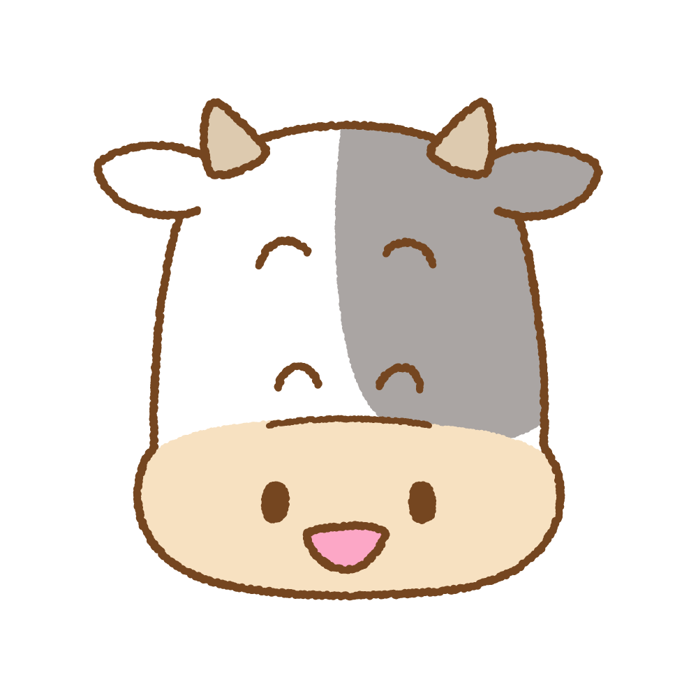 ウシの笑顔のフリーイラスト Clip art of cow face smile